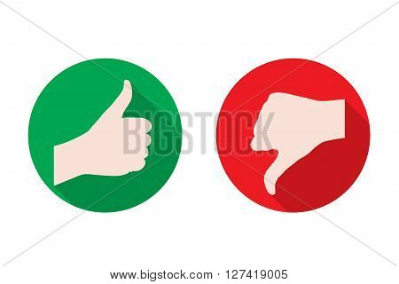 thumb up thumb down flat game graphics icon vector illustration