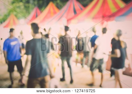 Food Festival With Blurred People Background