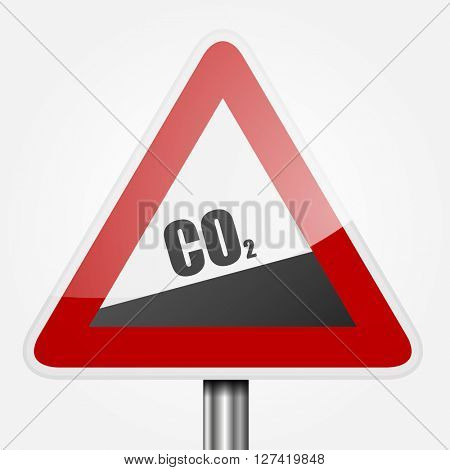 detailed illustration of read uphill CO2 traffic sign, symbol for increasing co2 output, eps10 vector
