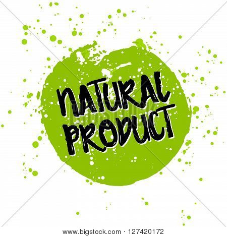 Go Green Eco Icon And Bio Sign On Watercolor Stain. Vector Banner 100% Natural Organic Food Concept.
