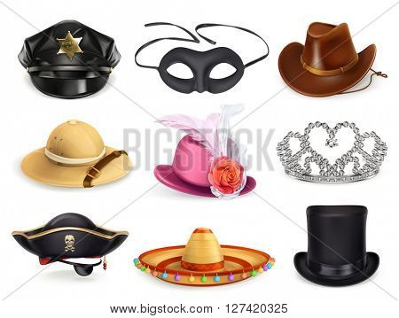 Hats set, collection of headgear, vector icons