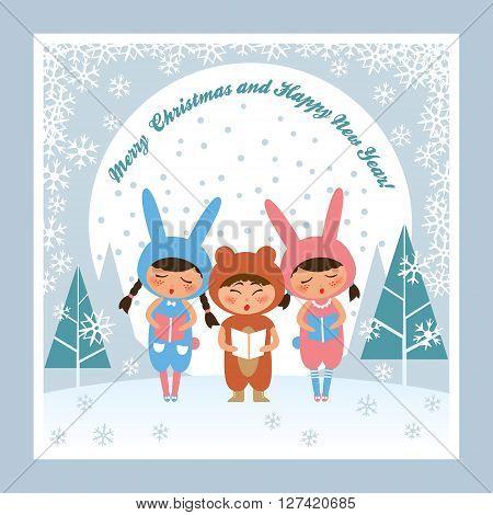 Children singing xmas carols. Merry Christmas and Happy New Year!