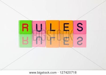 Rules - an inscription from children's wooden blocks