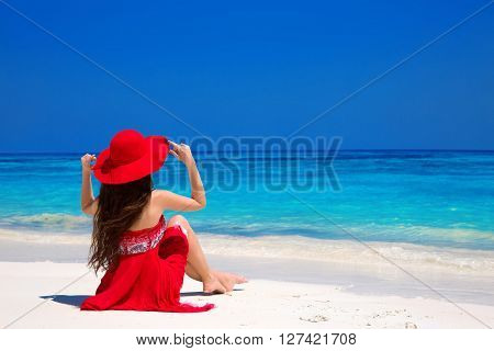 Beauty Fashion Woman In Red Hat Enjoying Beach Relaxing Joyful On White Sand In Summer By Tropical B