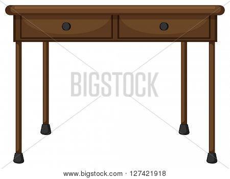 Wooden table with drawers illustration