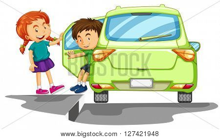 Children getting out of a car