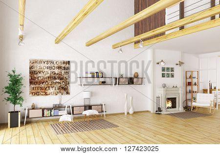 Lounge Room Interior 3D Rendering