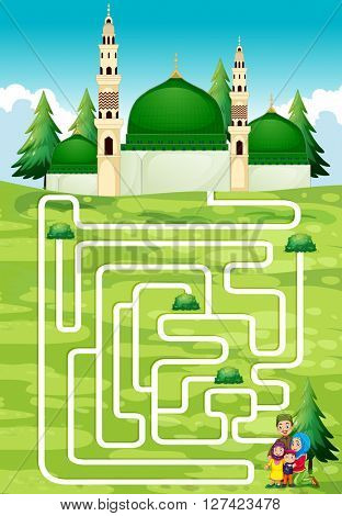 Maze game with people and mosque illustration