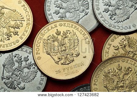 Coins of Russia. Russian double-headed eagle depicted in the Russian commemorative 25 ruble coins.