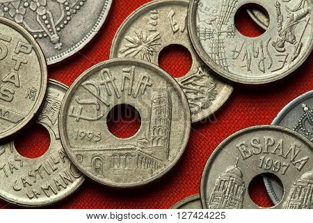 Coins of Spain. Saint Esteban Church in Segovia, Castile and Leon, Spain depicted in the Spanish 25 peseta coin (1995).