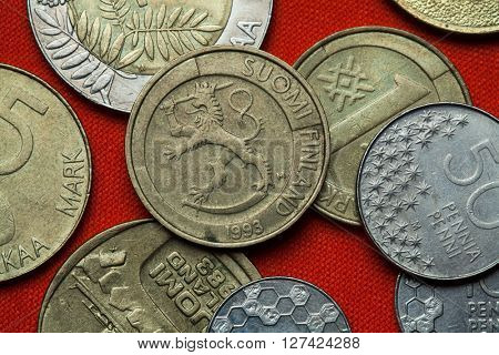 Coins of Finland. Finish national coat of arms depicted in the Finnish one markka coin (1993).