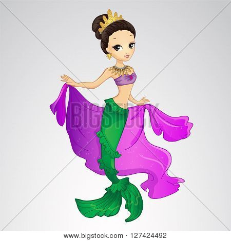 Vector illustration of brunette mermaid with gold crown and purple cape