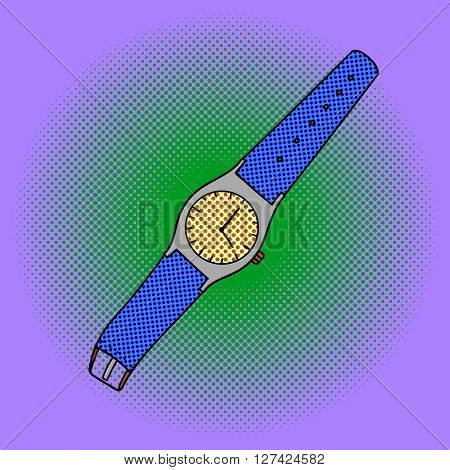 Wristwatch pop art design vector illustration. Clock separate objects. Wristlet watch hand drawn doodle design elements.
