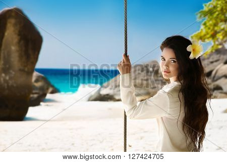 Tropical Beach. Attractive Smiling Brunette Girl Summer Portrait On Exotic Vacation. Beautiful Sensu