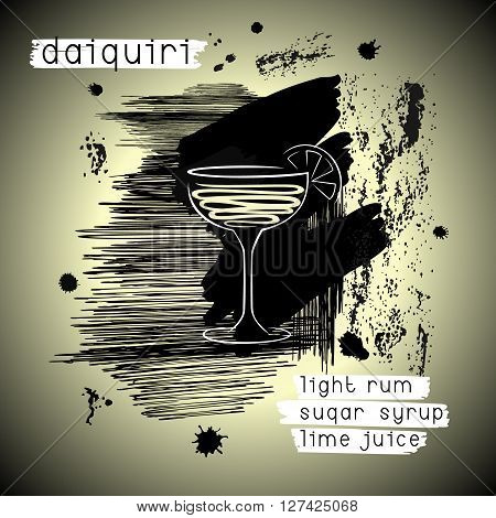 Daiquiri cocktail in grunge style. Abstract design concept for promotional flyer invitation banner or cocktails menu. Vector eps8