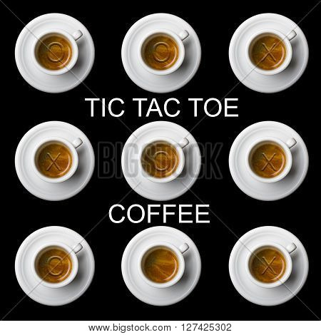 nine coffee cups with tic tac toe on black background and written