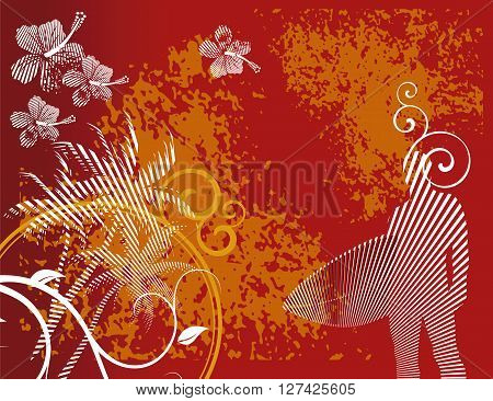 conceptual illustrations surfer silhouette with floral background