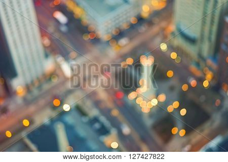 Defocused aerial view of Chicago downtown at evening