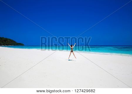 Enjoyment. Seashore. Happy Free Woman Raising Hands Or Open Arms Enjoying Life On Tropical Beach, Ex