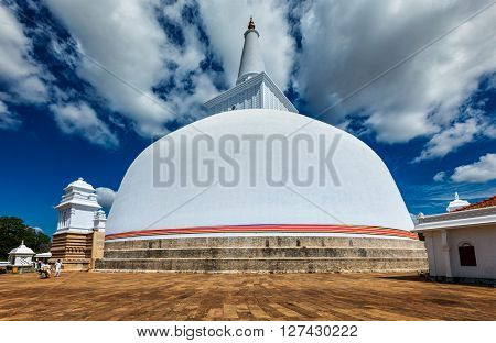 Ruwanweliseya Dagoba buddhist stupa tourist and pilgrimage site. Anuradhapura, Sri Lanka
