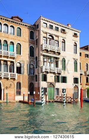 Houses on Grand Canal in Venice, Italy