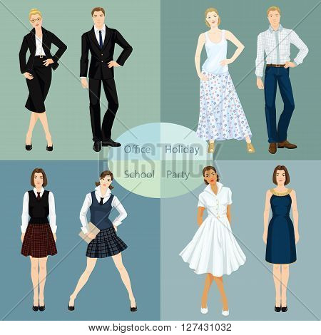Collection of man and woman in different clothes. Vector illustration of young people in clothes for office, party, school and holiday.