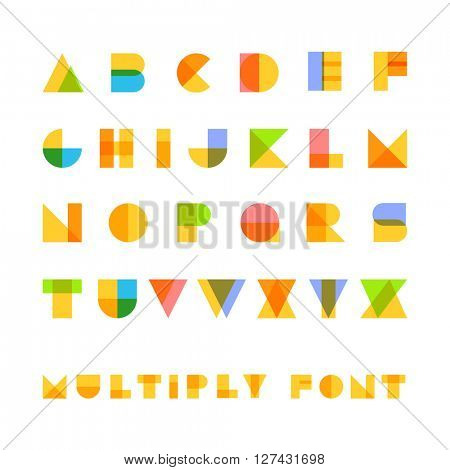 Multiply geometric elements letters. Design elements