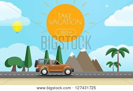 Take Vacation travelling concept. Flat design illustration