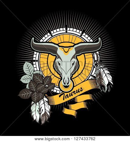 vector illustration Taurus emblem vintage frame with feathers on a black background