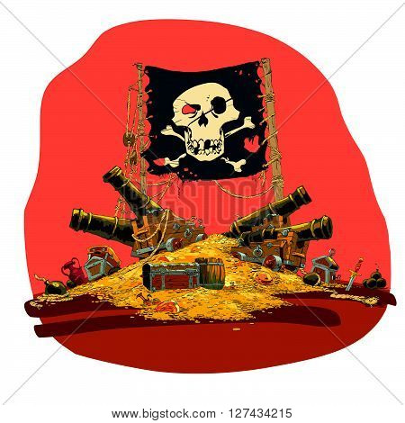 Pirate treasure vector illustration. Treasure mountain, flag Jolly Roger, ship cannon. Chests with gold coins