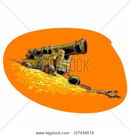 The cannon on the pirate ship. Coins gold treasures. Adventure and piracy