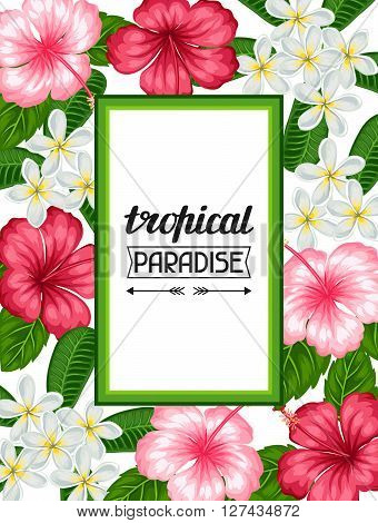 Frame with tropical flowers hibiscus and plumeria. Image for holiday invitations, greeting cards, posters.