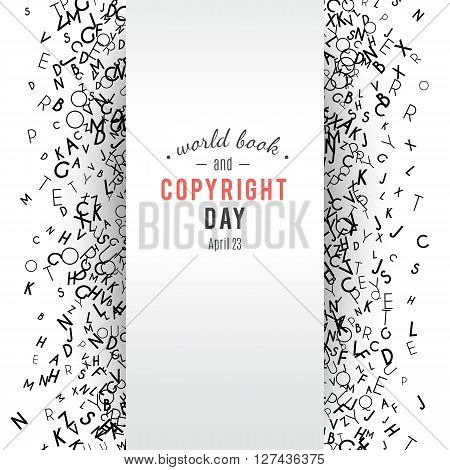 Abstract black alphabet ornament border isolated on white background. illustration for education writing design. Stripe of random letters fly in sides. Alphabet book concept for grammar school