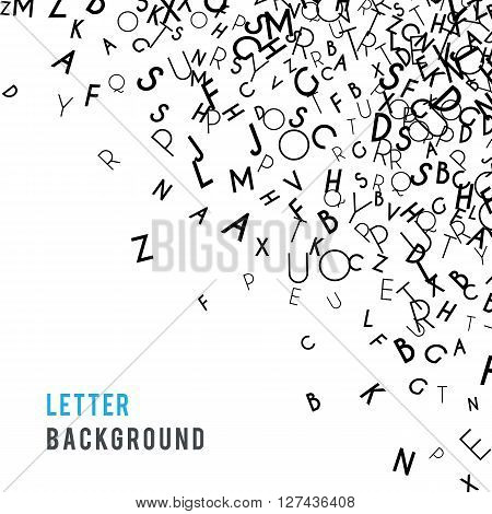 Letters abstract background composition. International Day of the Book or World Book Days. Promotion of reading, publishing and copyright. Poster or banner design. Copyright concept.