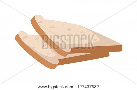 Slices of breakfast white bread for toasting nutrition diet sandwich vector.