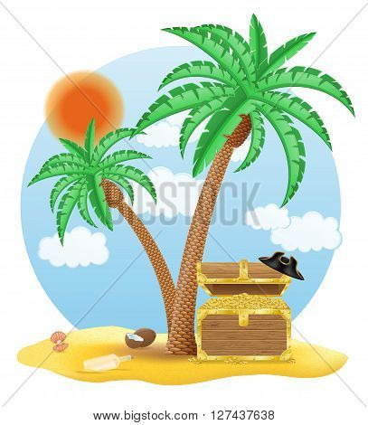 chest of gold standing under a palm tree vector illustration isolated on white background