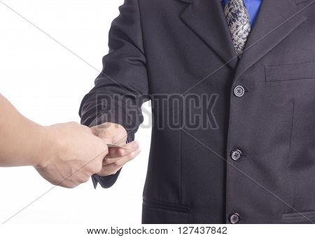 Business men exchange their business cards for first meeting on white ground.