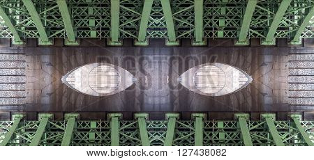 Conceptual image - under the bridge - bridge structure - digitally altered
