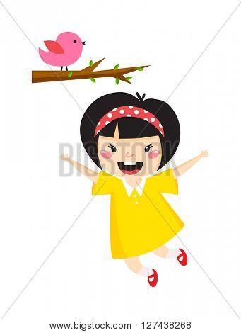Beautiful romantic asian girl and bird cute graphics princess vector.