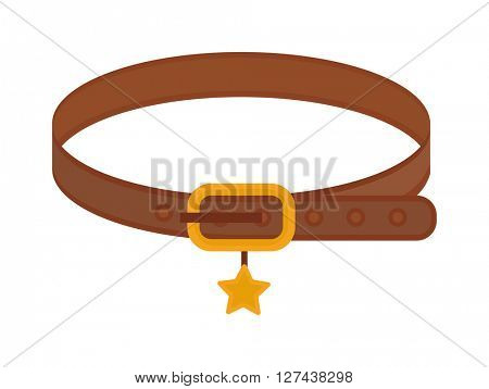 Brown leather animal dog collar with golden star belt control domestic pets vector.