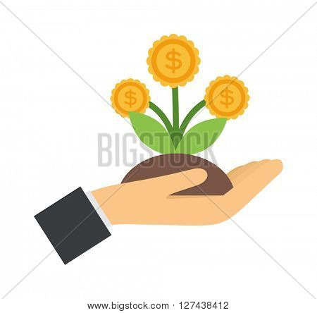 Vector flat icons design money flower dollar sign in hand investment concept.
