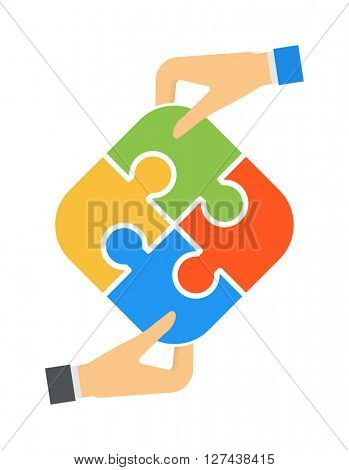 Hands and puzzle isolated solution business jigsaw piece concept vector