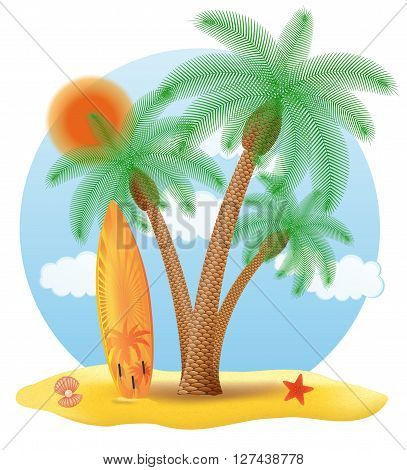 surfboard standing under a palm tree vector illustration isolated on white background