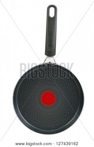 Large frying pan isolated on white background