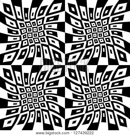 Seamless Square Pattern. Abstract Monochrome Background. Vector Regular Texture