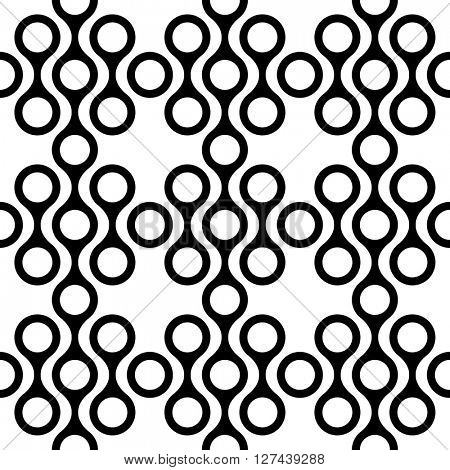 Seamless Curved Shape Pattern. Vector Black and White Background