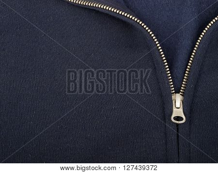 detail of sweatshirt with zipper, studio shot