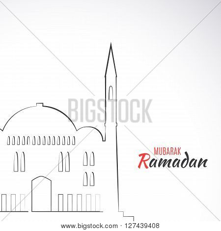 Single flat icon of Mosque isolated on white background. Logo of islamic holy building. Ramadan Kareem pattern. Traditional arabic architecture. Asian construction. Symbol of east. illustration