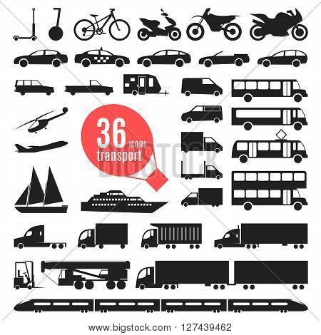Illustration of transportation items. Editable elements for your design. Simple monochromatic vehicle and transport related icons. Collection of auto symbols. City transport. Flat style.