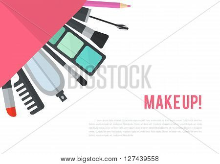 Make up flat illustration with lipstick, comb, brush, palette, perfume in women purse. Beauty design isolated on white background. Make-up artist objects. Cosmetic bag. Corner composition.